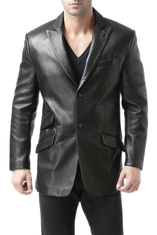 "BGSD Men's ""Noah"" Peaked-Lapel Lambskin Leather Blazer"