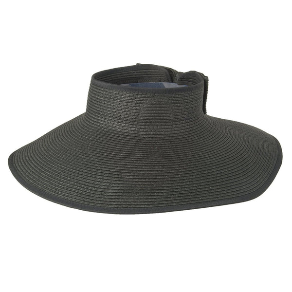 Luxury Lane Women's Black Wide Brim Straw Sun Visor Hat