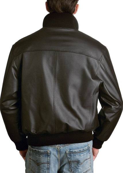 Landing Leathers Men's Navy A1 Leather Flight Bomber Jacket (A-1)