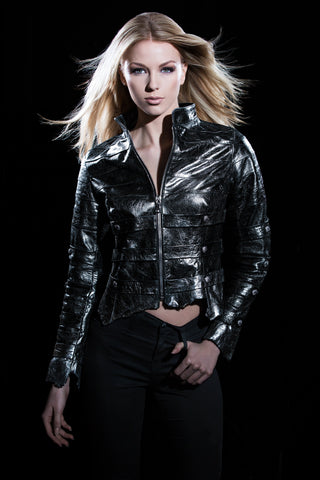 Women's Laser Cut Perforated Leather Jacket