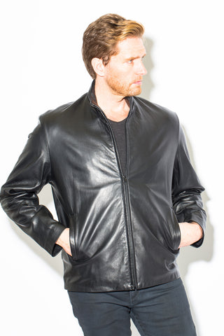 Men's Black Label Collection Stand Collar Front Zip Jacket