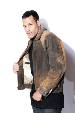 Men's Brown Distressed Shaved Lambskin Bomber