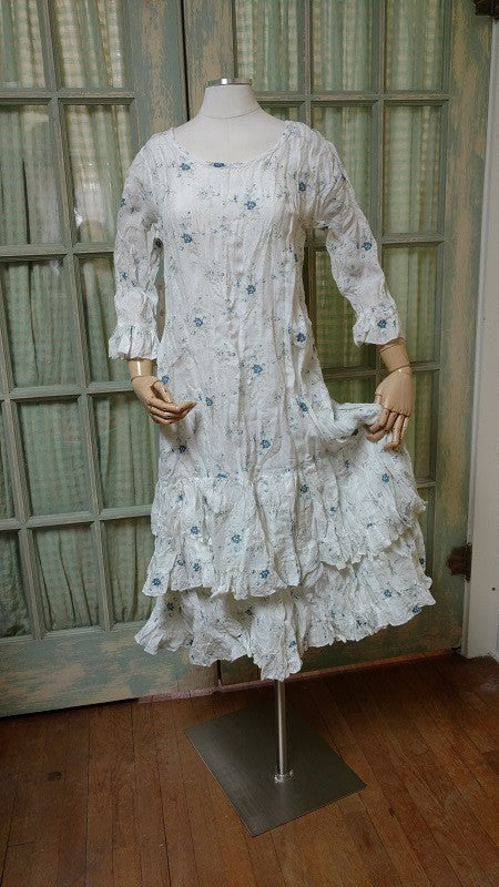 Carrie Dress 3/4 sleeve Cream Blue Floral, HD-062 CB FLR