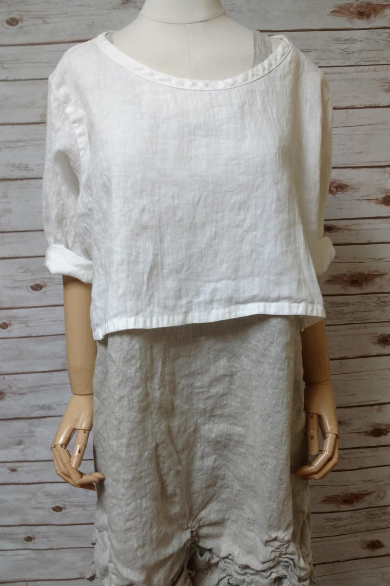 Crop Cover Tee in Linen