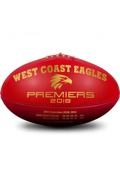 SHERRIN BLEMISHED WEST COAST EAGLES PREMIERSHIP 2018 FOOTBALL WITH FREE EAGLES JACQUARD SCARF <br> 4116/CIB