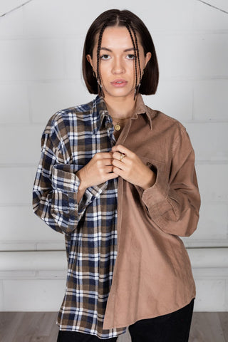 Vintage Checked Flannel Reconstructed Unisex Shirt