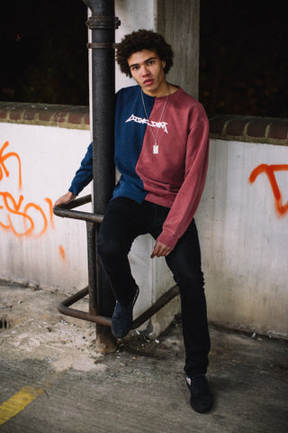 Cosmic Saint Navy Red Half Sweatshirt