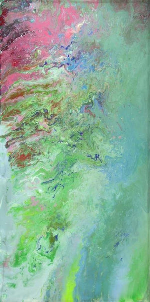 abstract painting green and pink