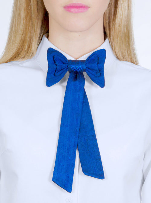 TRIIN Blue Raw Silk Bow Tie