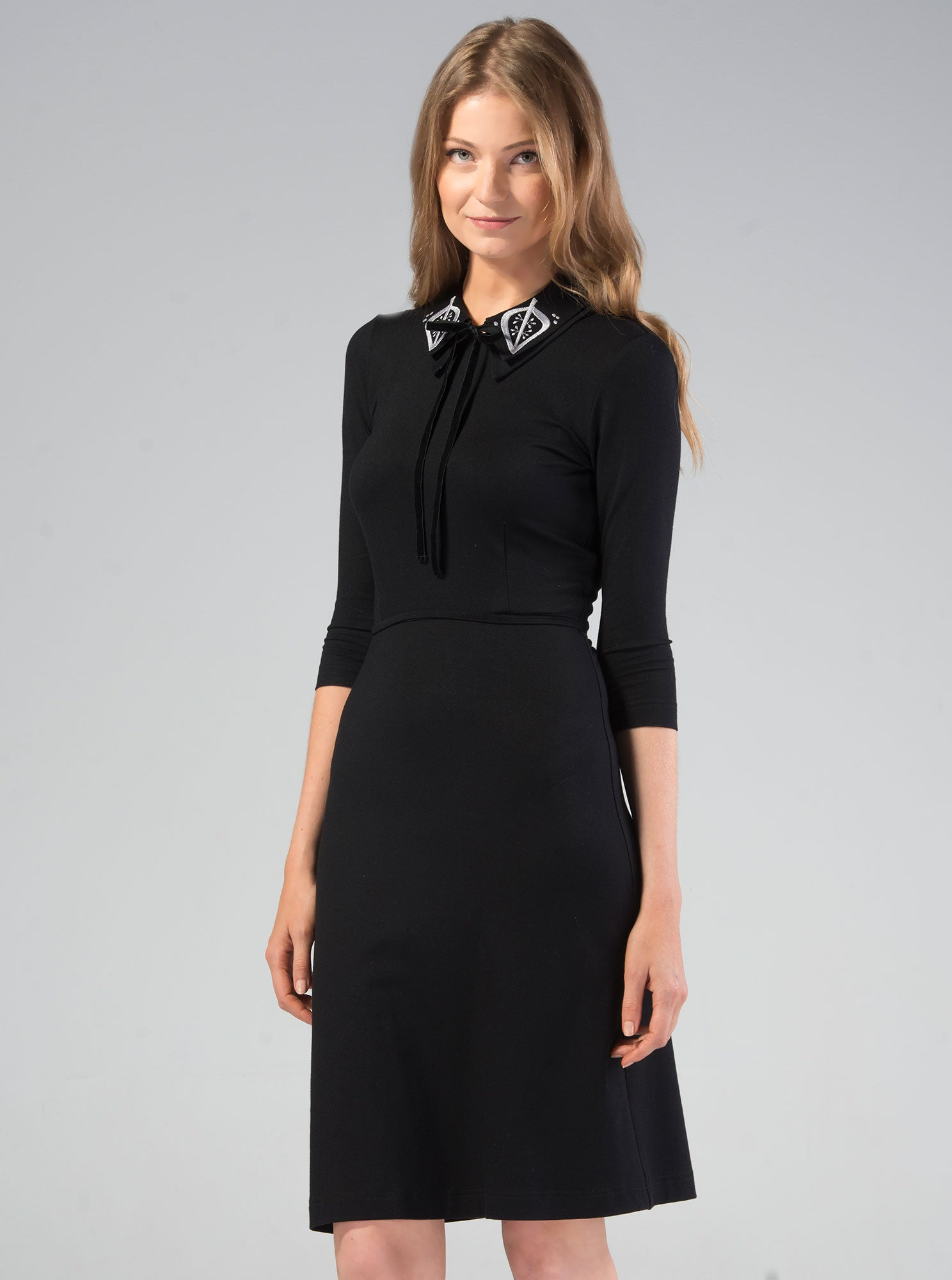 TUULE Black Bamboo Embroidered Dress