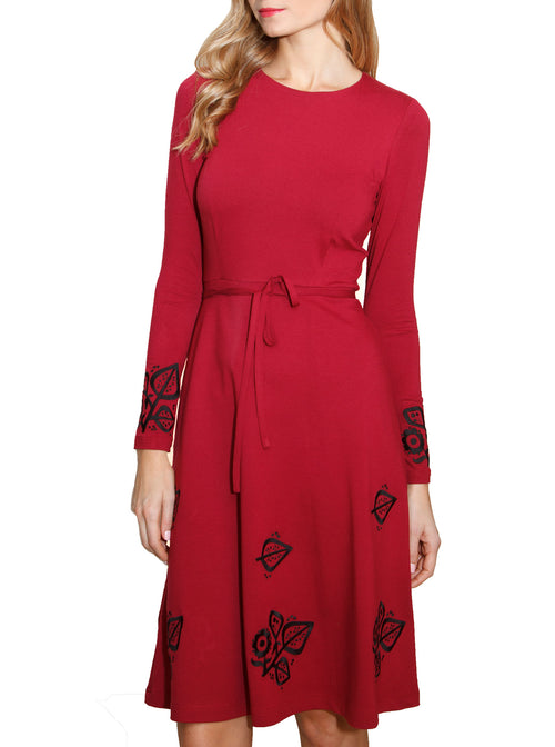 SUSI Wine Red Viscose Embroidered Dress