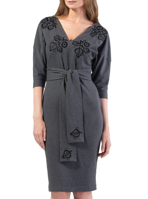 MERIKE Grey Organic Cotton Embroidered Dress