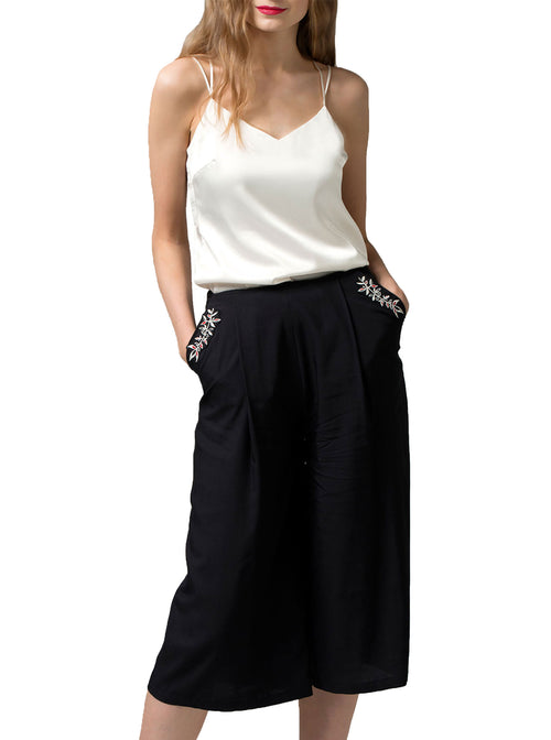 PERIT Black Bamboo Culotte Trousers