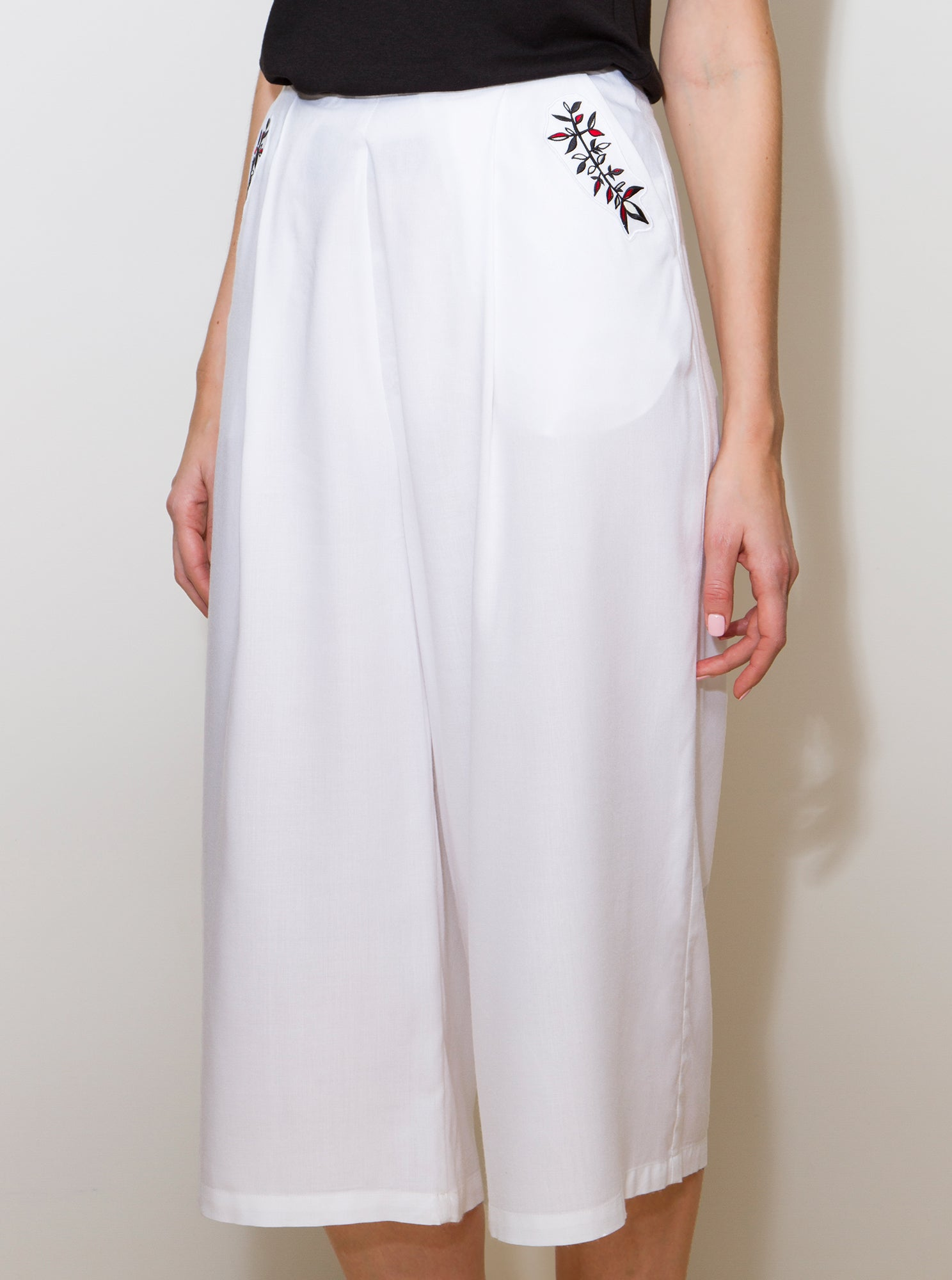 PERIT White Bamboo Culotte Trousers