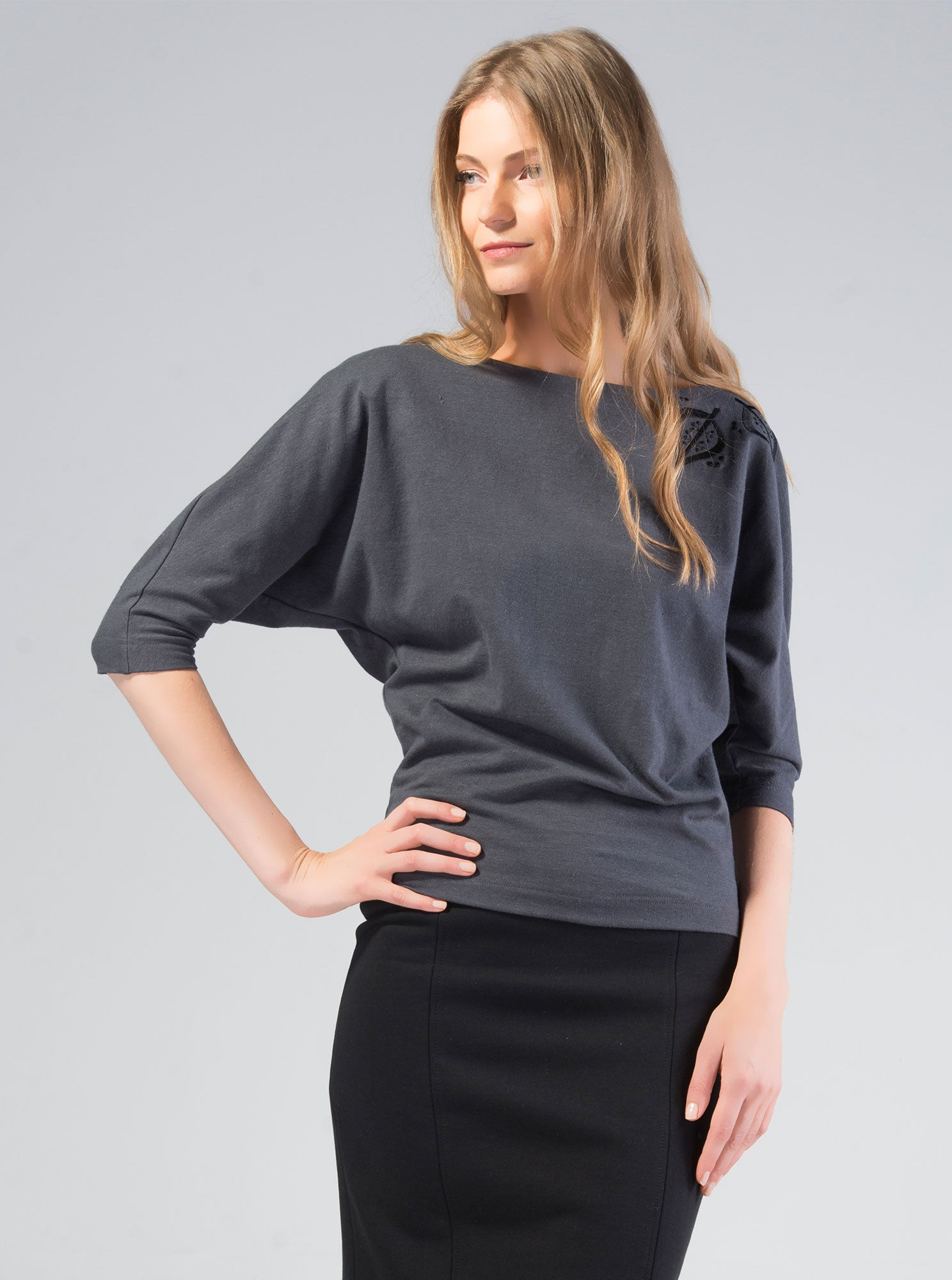TAEVI Grey Organic cotton/Hemp Blouse