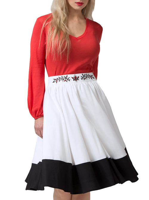 SIMONE Multi-Color Bamboo Embroidered Skirt