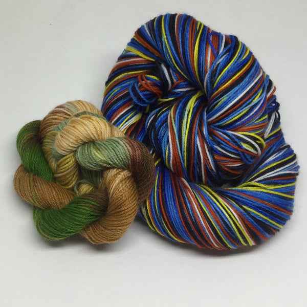 Nemo and Dory and Crush Eight Stripe Self Striping Sock Yarn with Sea Turtle Toe and Heel Mini Skein