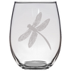 Engraved Curved Dragonfly Stemless Wine Glass