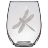 Engraved Dragonfly Stemless Wine Glass