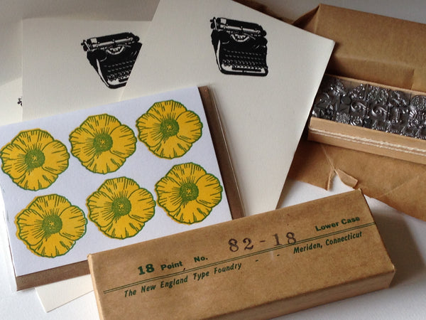 letterpress notes and type