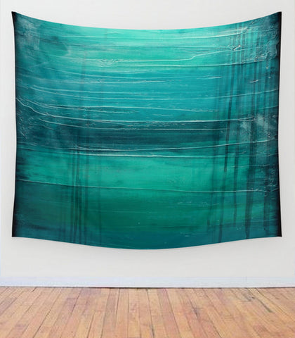"""Lagoon"" – Teal Abstract Art – Wall Tapestry"