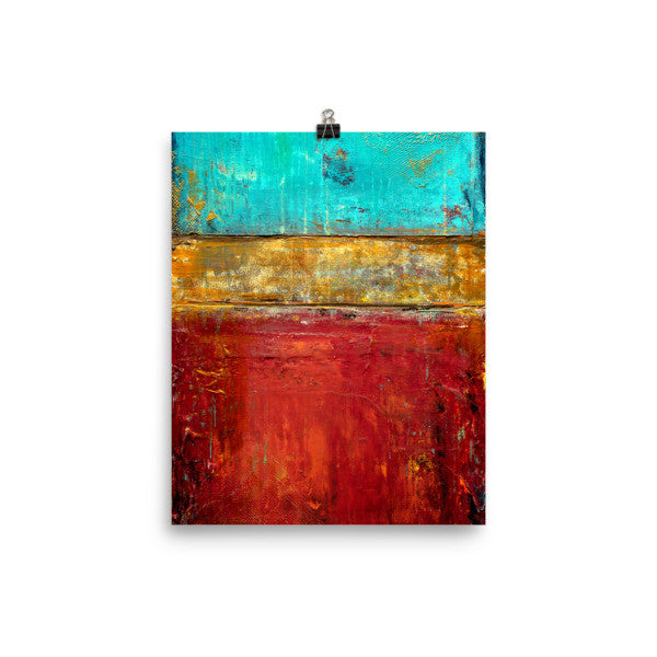 Blue, Red and Gold Art - Poster Print - Modern Art - The Modern Home Co. by Liz Moran