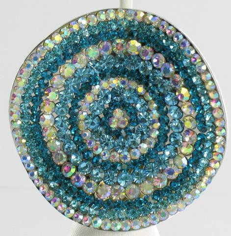 Aquamarine Blue and AB brooch with alternating circular pattern