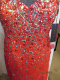 Silver Short Dress any Occassion Stunning Multicolored  jeweled front size2-10