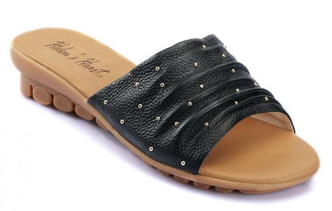 Black colored ladies leather comfort shoe with small bead details
