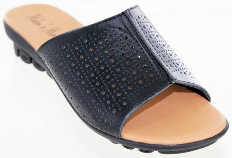 Black colored ladies leather comfort sandal with eyelet design and unique sole