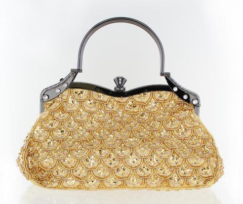 Gold sequined ladies formal purse.