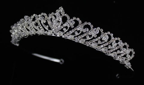 Silver Base (001) Clear Crystal Stone Tiara