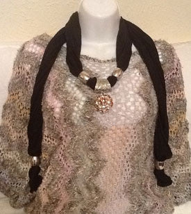 Black Scarf with Gorgeous Jeweled Pendant