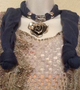 Blue Scarf with Silver Rose Pendant