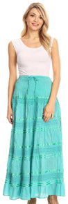 group-Aqua (Sakkas Lace and Ribbon Peasant Boho Skirt)