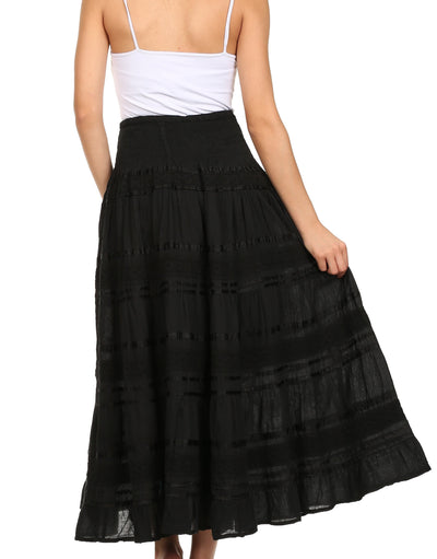 group-Black (Sakkas Lace and Ribbon Peasant Boho Skirt)