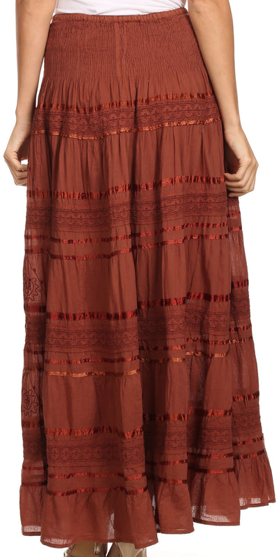 group-Brown (Sakkas Lace and Ribbon Peasant Boho Skirt)