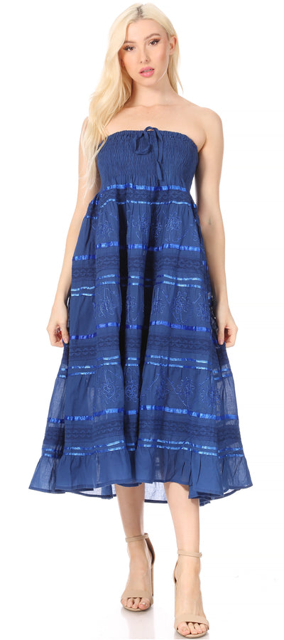 group-Navy (Sakkas Lace and Ribbon Peasant Boho Skirt)