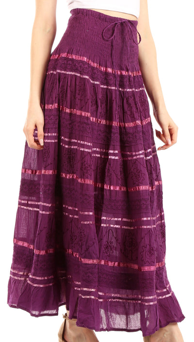 group-Purple (Sakkas Lace and Ribbon Peasant Boho Skirt)