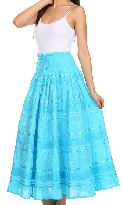 group-Turquoise (Sakkas Lace and Ribbon Peasant Boho Skirt)