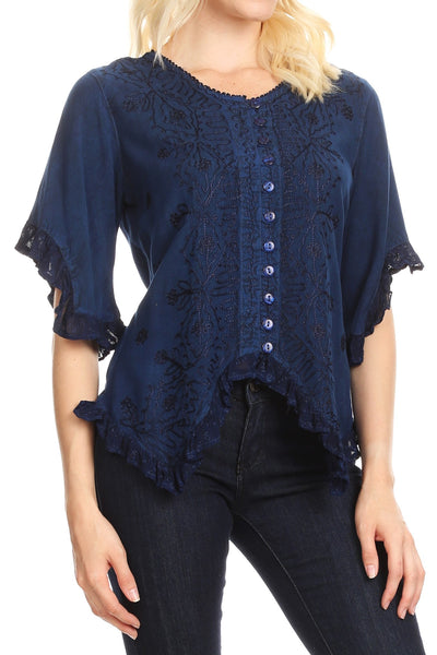 group-Blue (Sakkas Adela Womens 3/4 Sleeve V neck Lace and Embroidery Top Blouse with Ties)