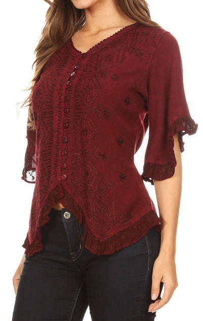 group-Burgandy (Sakkas Adela Womens 3/4 Sleeve V neck Lace and Embroidery Top Blouse with Ties)