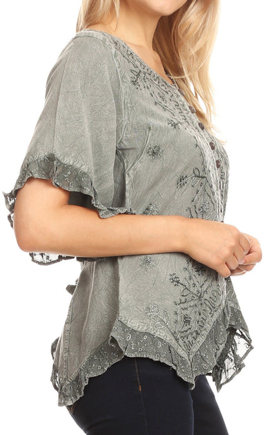 group-Gray (Sakkas Adela Womens 3/4 Sleeve V neck Lace and Embroidery Top Blouse with Ties)