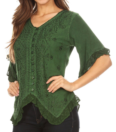 group-Green (Sakkas Adela Womens 3/4 Sleeve V neck Lace and Embroidery Top Blouse with Ties)