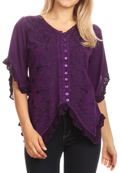 group-Purple (Sakkas Adela Womens 3/4 Sleeve V neck Lace and Embroidery Top Blouse with Ties)