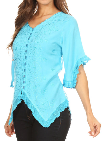 group-Turquoise (Sakkas Adela Womens 3/4 Sleeve V neck Lace and Embroidery Top Blouse with Ties)