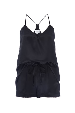 BEST SELLER: Tank and Short Set in 'Black' Silk Charmeuse