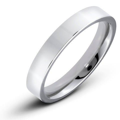 Men's Stainless Steel Flat 4mm Polished Comfort Fit Wedding Band Ring