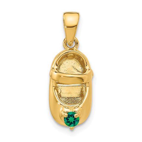 14k 3-D May/Synthetic Stone Engraveable Baby Shoe Charm
