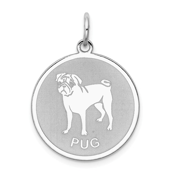 Sterling Silver Rhodium-plated Pug Disc Charm